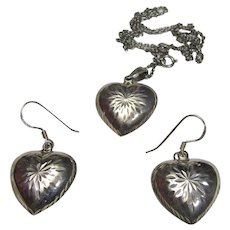 Large Sterling Bright Cut Puffy Hearts Necklace & Earring Suite