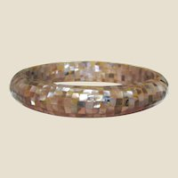 Lucite Bangle w/ Mother of Pearl Inlays