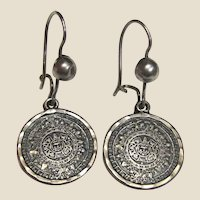 Mexican Sterling Eagle Mark Aztec Calendar Earrings, 7 Grams