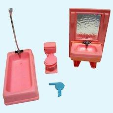 1970's Three Piece Hard Plastic Doll House Bathroom Set by Arco