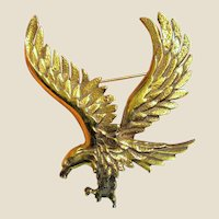 Large Cast Brass American Eagle Pin