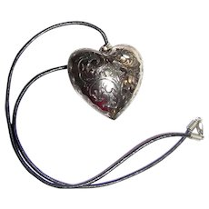 """Large 1 3/4"""" Puffy Silvertone Heart on 17"""" Leather Thong"""