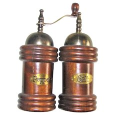 """Vintage Wooden Salt Shaker & Pepper Mill Grinder Set, 6 ½"""" Farmhouse Rustic, Grinder Works"""