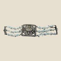 Distressed Metal, Cut Stone & Rhinestone Bracelet