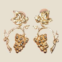 Large Goldtone Etruscan Revival Grape Vine Earrings