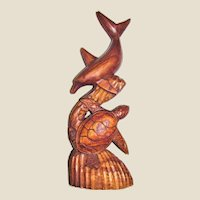 "16"" Hand Carved Dolphin & Sea Turtle Wooden Sculpture"