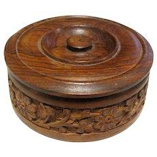 Carved Round Teak Trinket Box