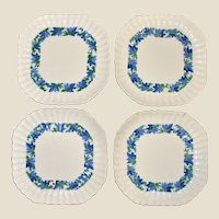 4 Square Luncheon Plates, Copeland Spode of England, Valencia Pattern, Blue Green w/ White Background