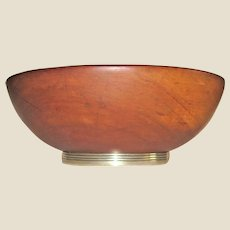 """Rare Beautiful Tiffany & Co Mid Century Wood Salad Bowl on Sterling Silver Base 11"""""""