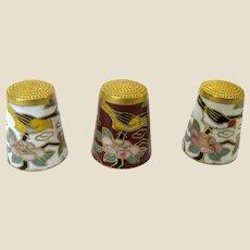 Vintage Bird Design Chinese Cloisonne Set of 3 Thimbles