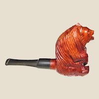 Vintage Hand Carved Bear Pipe, Foreign Briar Figural, Made in Italy, Like New