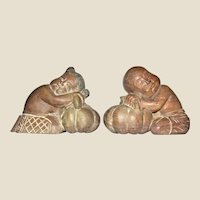 Exceptional Pair of Hand Carved Wooden Thai Children in Traditional Dress, Mid-Century, Mint