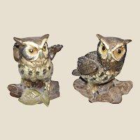 """Vintage Pair of Ceramic 5"""" Owl Figurines by Norleans of Japan"""