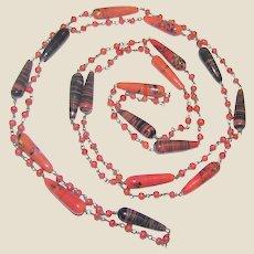 """52"""" Deco Flapper Art Glass Necklace"""