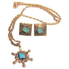 Hand Made Copper & Art Glass Necklace & Earrings