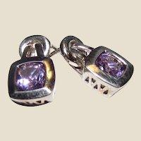 Articulated Stud Amethyst Sterling Earrings