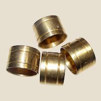 Four Solid Brass Vintage Napkin Rings