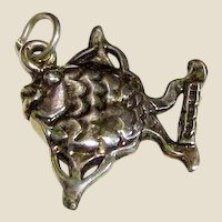 Pretty Sterling Silver 3D Fish Charm