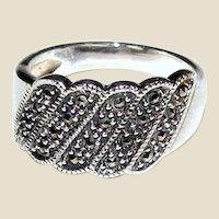 Vintage Sterling & Marcasite Ring Sz 8