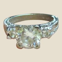 Sterling Faux Diamond Traditional Engagement Style Ring Sz 6