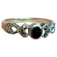 Dainty Sterling Onyx and Marcasite Ring Sz 7