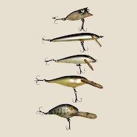 """Five Vintage Fish Lures 2-4"""" (excluding hooks) Heddon, Bagley VG"""