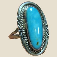Navajo Sterling & Turquoise Ring Size 7.5 by Mike Ganadonegro