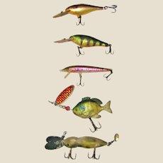 "Five Vintage Fish Lures 3 1/2-4 1/2"" (excluding hooks) Renosky, Rapapa VG"