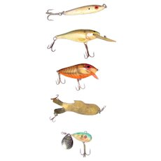 "Five Vintage Fish Lures 2 1/4"" - 3 1/2"" (excluding hooks) Rapala Finland, Thin Fin & Little George VG"