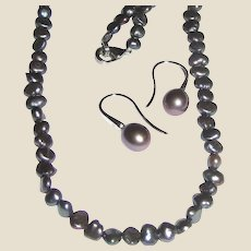 Honora Gray Cultured Pearl & Sterling Earrings w/ Coordinating Necklace