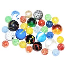 32 Vintage Marbles - Crackled, Swirl, Confetti, Lusters