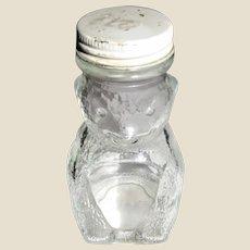 "Vintage Domino Sugar n Cinnamon Glass Bear Shaker / Bank 4 ½"" Tall, All Parts Original"