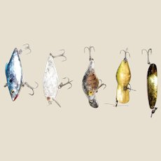"Five Vintage Fish Lures 2 1/2"" - 3"" (excluding hooks) Jenson"