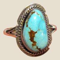 Native American Sterling & Turquoise Ring Sz 8, Signed Lambert Livingston