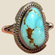 Native American Sterling & Turquoise Ring Sz 8, Signed Lambert Livingston