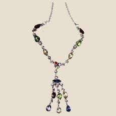 Sterling Multi Gemstone Festoon Necklace