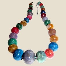 Lucas Lameth Sterling Dyed Crackle Agate Stone Bead Graduated Necklace