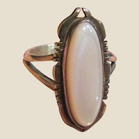 Signed Native American Sterling & Mother of Pearl Ring Sz 7