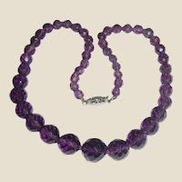 "Art Deco Czech 20"" Amethyst Crystal Necklace w/ Filigree Clasp"