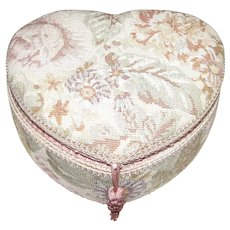 Vintage Heart Shaped Tapestry Sewing Box