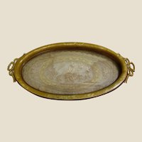 French Celluloid & Lace Art Deco Small Vanity Tray