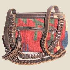 Large Vintage Moroccan Kilim Leather Bag