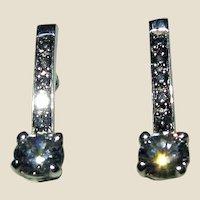 Vintage Russia Sterling Earrings w/ CZ Stones