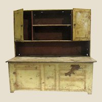 """Antique 13"""" Tin Doll Storage Cabinet for Kitchen or Country Store"""