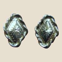 Vintage Bright Cut Sterling Stud Earrings