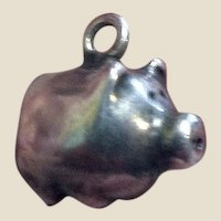 Cute Tiny Sterling Pig Charm