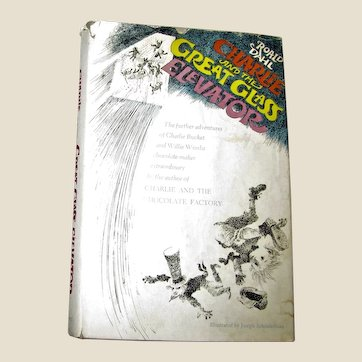 Charlie and the Great Glass Elevator by Roald Dahl HCDJ 1972, 1st Edition, VG