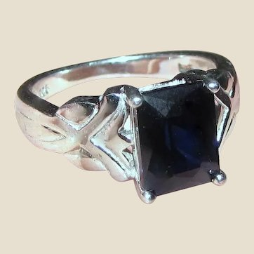 Vintage Sz 7 Sterling & Faux Sapphire Ring