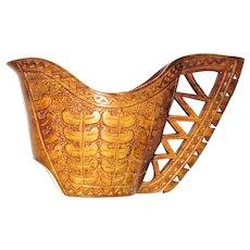 Antique Scandinavian Hand-Carved Wooden Wedding Kuksa Cup - Swedish Finish Folk Art, Mint