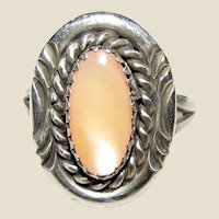 Dine' Begay Native American Sterling & Mother of Pearl Ring Sz 6